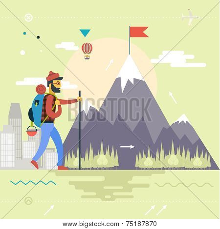 Backpack Hiking Mountain Climber Symbol Travel Concept of Planning Vacation Man Geek Hipster Rock Fo