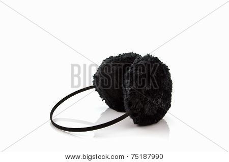 Black Fuzzy Winter Ear Muff .