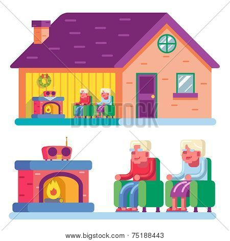 Happy smiling elderly family couple sitting in chairs front of fireplace home radio interior private