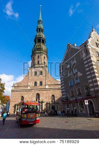 RIGA, LATVIA - SEPTEMBER 30: St. Peter's Church at daytime on September 30, 2014 in Riga, Latvia