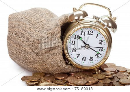 Great golden alarm clock faces on coins