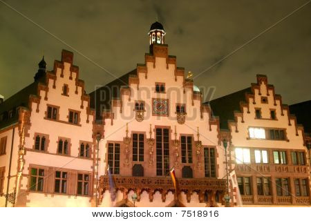 Frankfurt, Germany - Townhall Römer at night