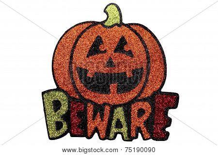 Glitter pumpkin beware