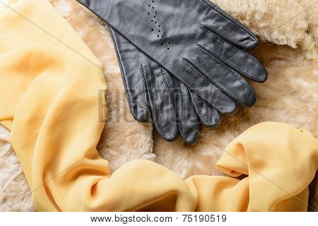 Sheepskin Fur, Gloves And Scarf