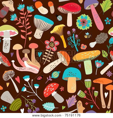 Assorted Leaves and Mushrooms on Brown Background