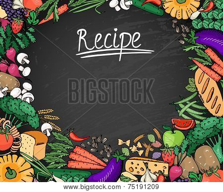 Food Recipe Background on Black Chalkboard