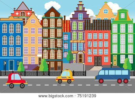 Seamless Cartooned City Life Graphic