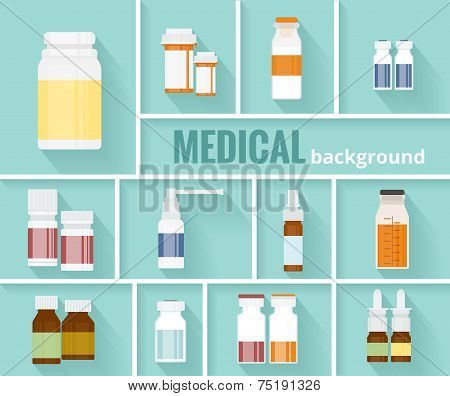 Medication Bottles for Medical Background Design