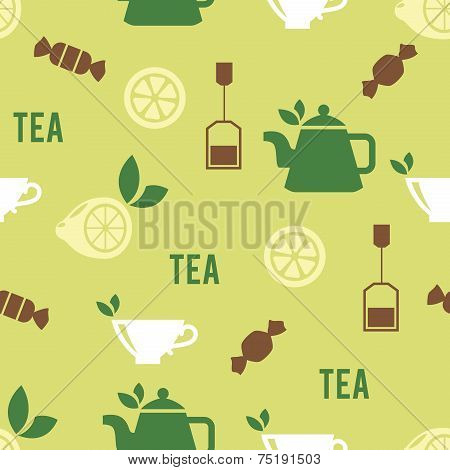 Tea Time Concept in Seamless Pattern