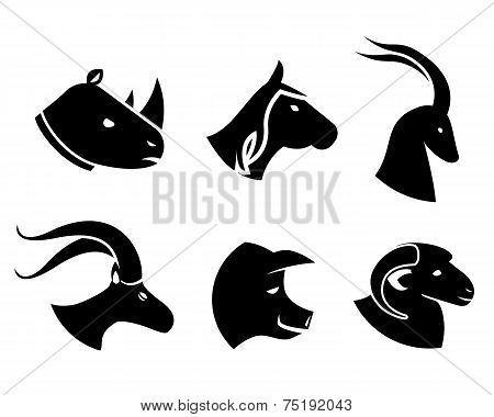 Set of black animal head icons