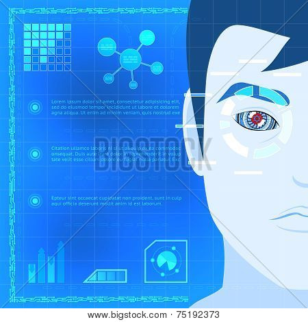 Eye Biometrics Scanner Technology Graphic Design