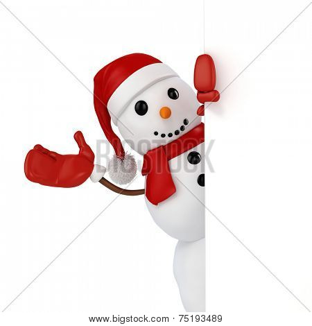 3d happy snowman with santa hat behind a blank board