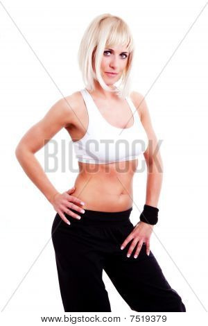 Beautiful Blond Woman  Doing Fitness Exercise Over White