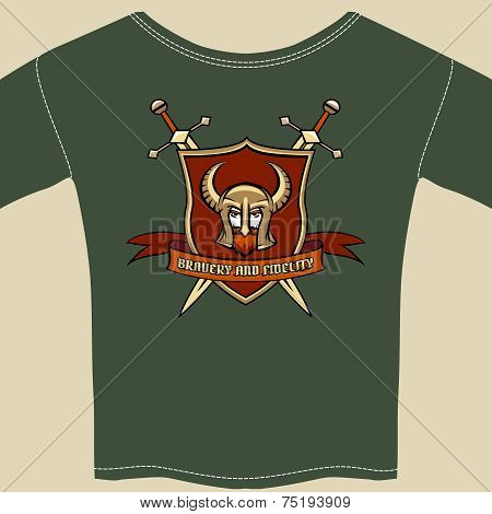 Knight or warrior theme tee shirt template