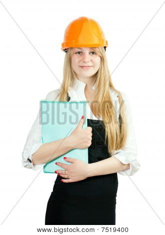 Businesswoman In Hard Hat With Documents