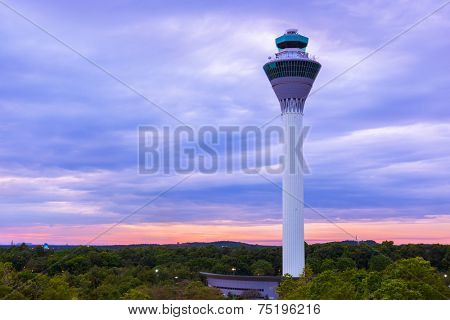 Flight control tower in Airport at Kuala Lumpur (Malaysia) - transportation background