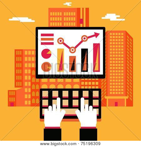 Retro Business  Financial Infographics Symbol Hands Keyboard and PC Monitor with Real Estate City Ba