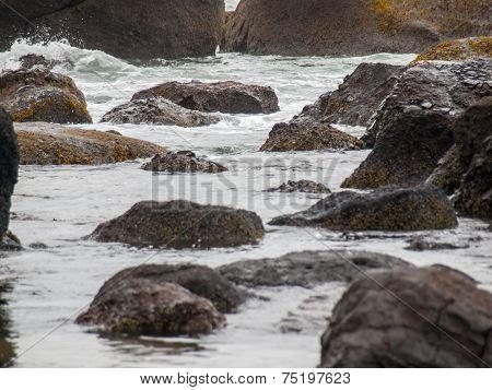Ocean Waves Crashing On Rock On The Oregon Coast