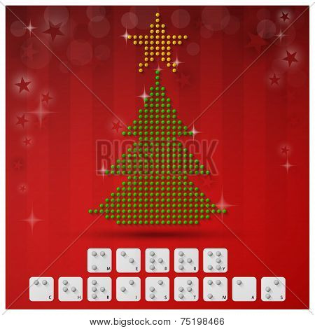 Braille Alphabet Christmas Background Banner With Paper Graphic Style