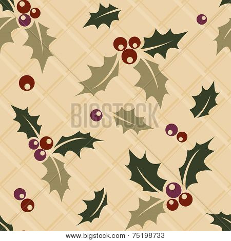 Ilex sprig seamless Christmas background