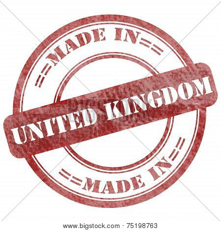 Made In United Kingdom, Red Grunge Seal Stamp