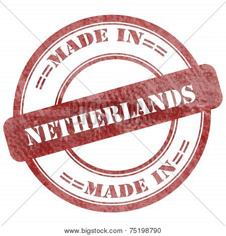 Made In Netherlands, Red Grunge Seal Stamp