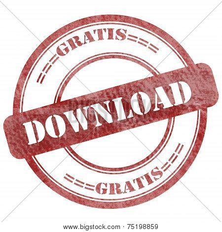 German, Gratis Download, Red Grunge Seal Stamp