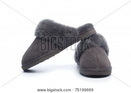Pair Of Handcrafted Leather Slippers With Wool Lining