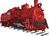 picture of locomotive  - Soviet retro red locomotive train with a black star isolated on white background - JPG