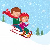 image of sled  - Illustration of boy and girl children sledding together - JPG