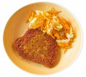 stock photo of fried chicken  - Cutlet with grated carrots on ceramic dish - JPG