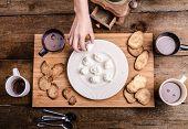 image of cream puff  - Homemade hot chocolate homemade butter cookies cream puffs - JPG