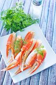 foto of cooked blue crab  - crab claws with fresh dill on white plate - JPG