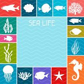 image of marines  - Marine life background design with sea animals - JPG