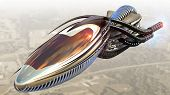 image of alien  - Futuristic military spacecraft or surveillance drone for alien fantasy games or science fiction backgrounds of interstellar deep space travel - JPG