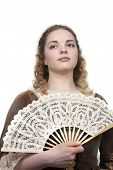 Beauty With Fan In Medieval Dress poster