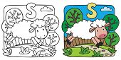 foto of baby sheep  - Coloring picture or coloring book of little funny sheep running along the path - JPG