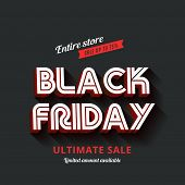 picture of holiday symbols  - Black Friday Typography Advertising Poster design vector template - JPG