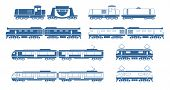 image of boxcar  - Silhouettes of modern trains - JPG