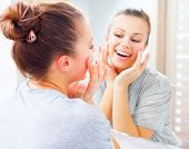 picture of touching  - Beauty skin care - JPG