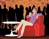foto of bachelor party  - Vector illustration of a young man at a party - JPG