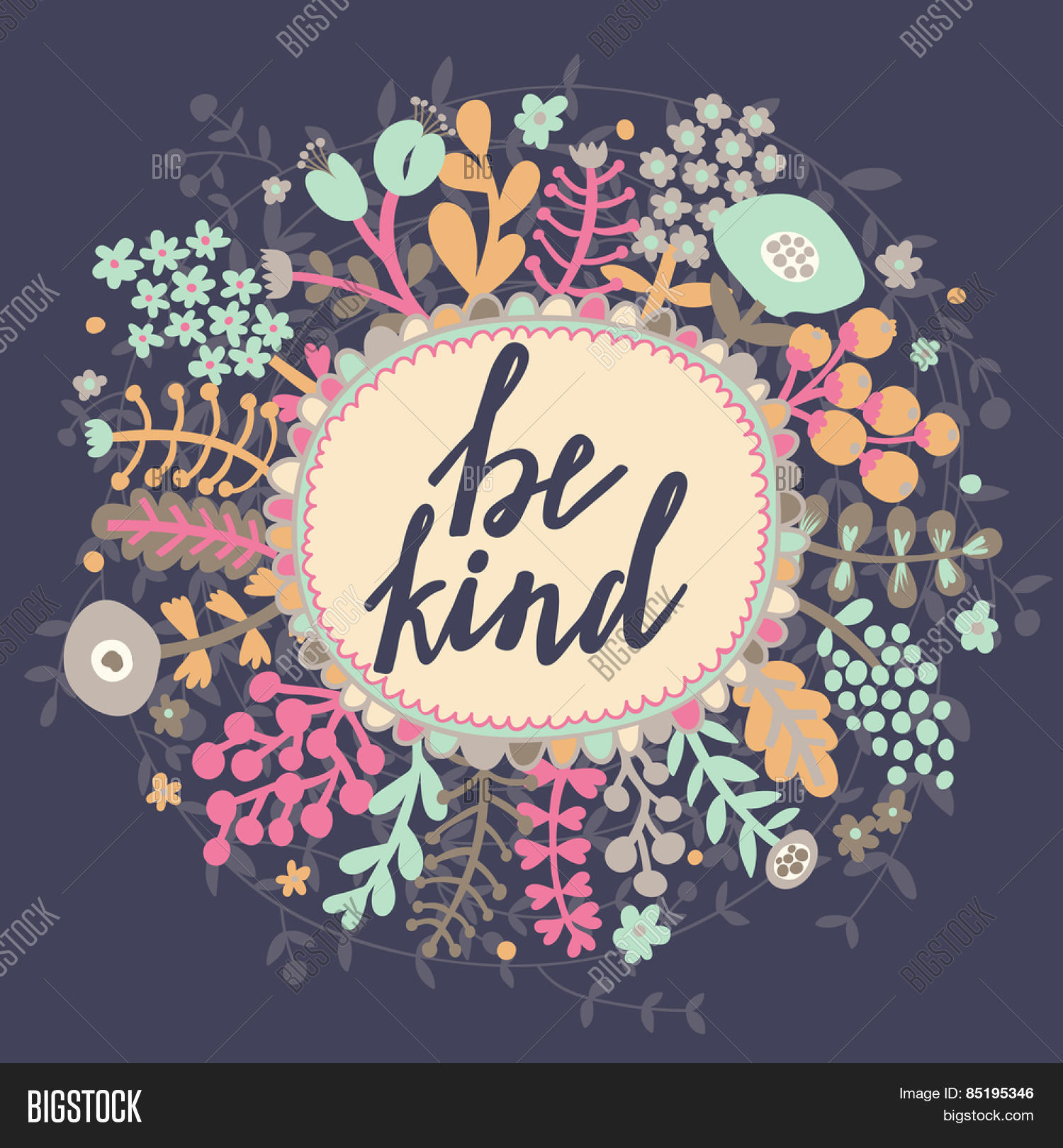 Floral Positive Motivational Quotes: Be Kind. Inspirational Vector & Photo