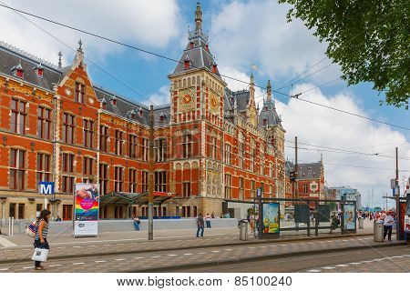 The tram stop near Amsterdam Centraal station, Netherlands