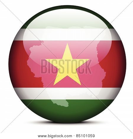Map On Flag Button Of Republic Suriname