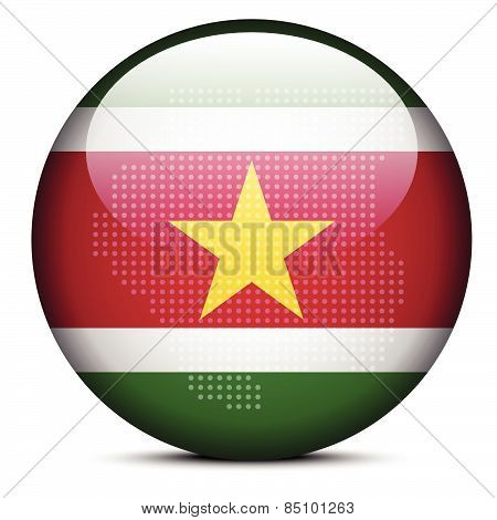 Map With Dot Pattern On Flag Button Of Republic Suriname