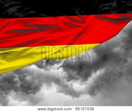 German waving flag on a bad day