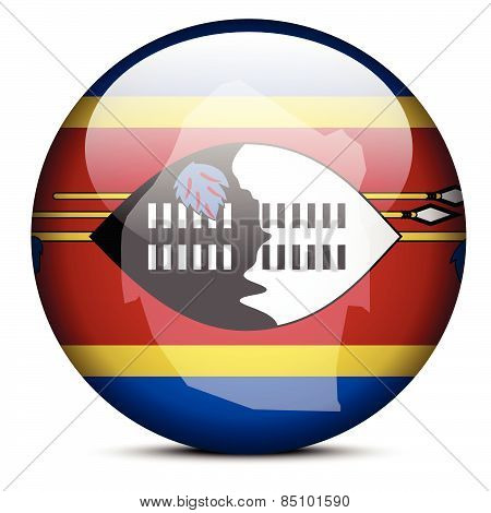 Map On Flag Button Of Kingdom Swaziland
