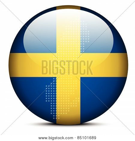 Map With Dot Pattern On Flag Button Of Kingdom Sweden