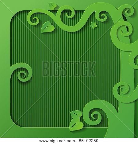 Green frame with a cut paper tree decorative shapes. Vector Illustration