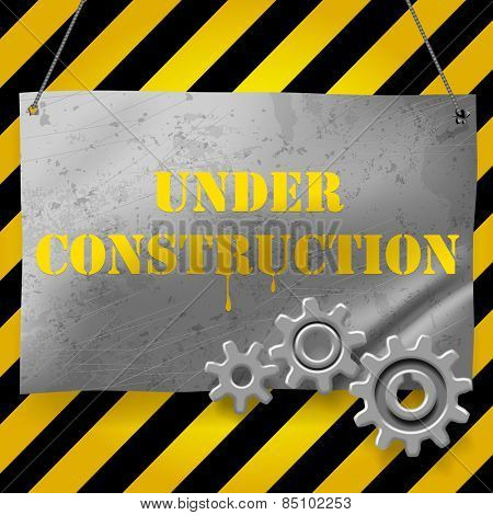 Metallic crumpled and spotted signboard with gearwheels. Under Construction Background. Vector illustration